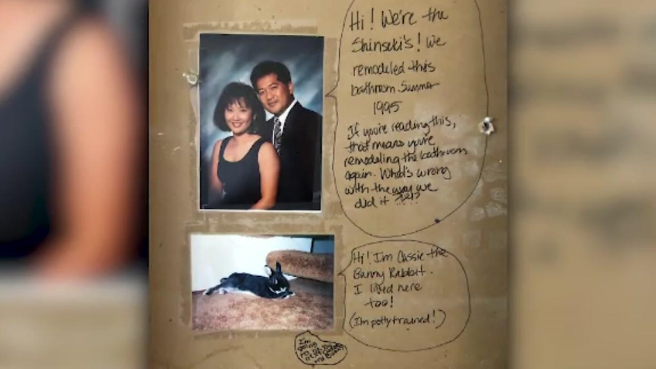 California couple finds hidden message in bathroom wall while remodeling