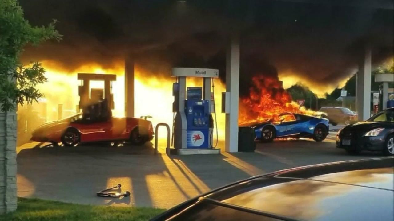 Lamborghini goes up in flames after mini van pulls off gas pump