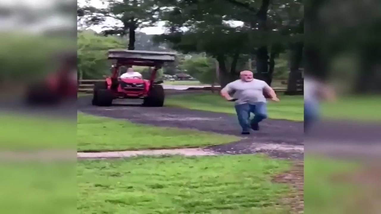 Man chased by tractor in bizarre confrontation