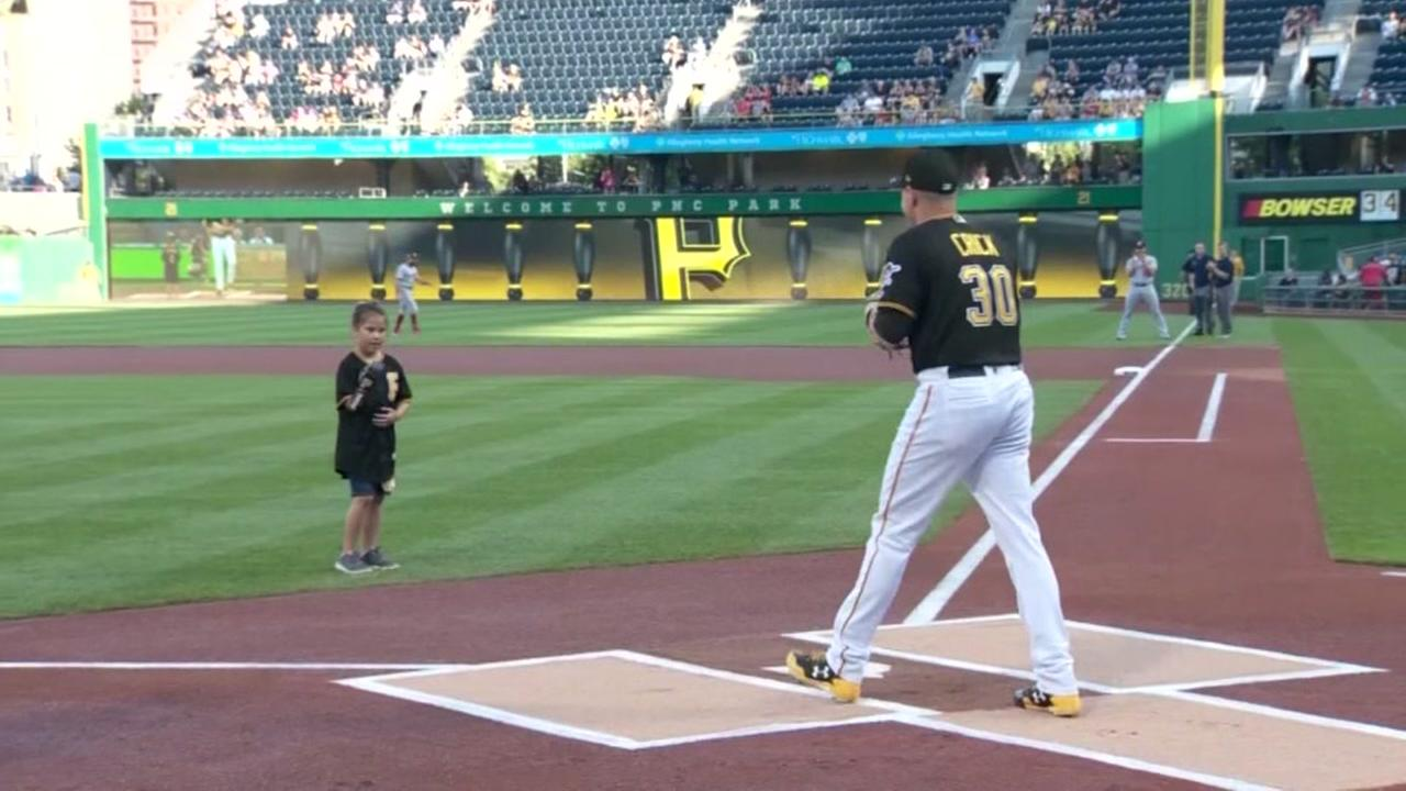 Hailey Dawson throws another first pitch
