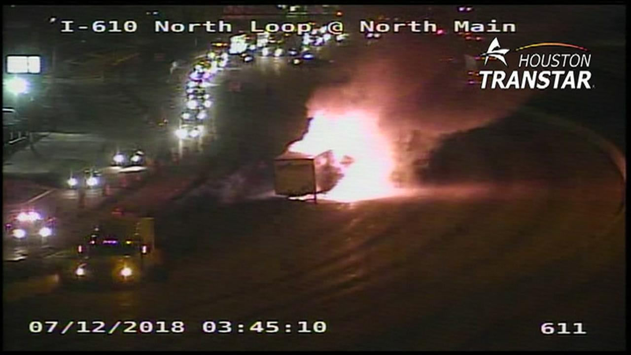 Big rig catches fire