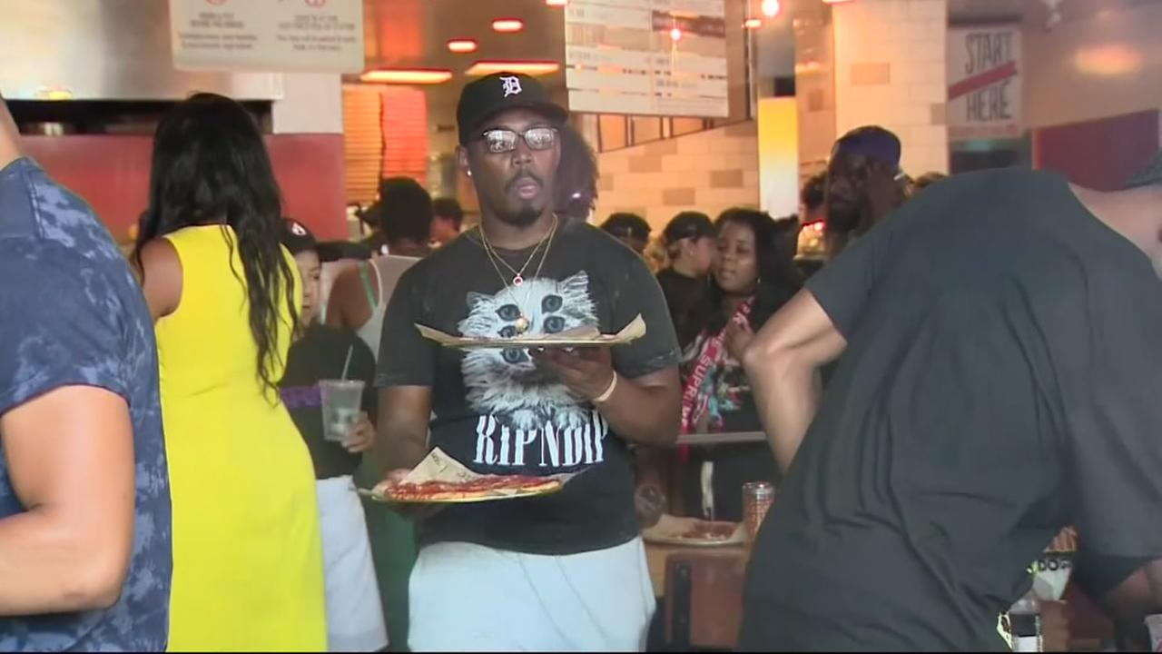 Huge crowd shows out for LeBron James pizza party