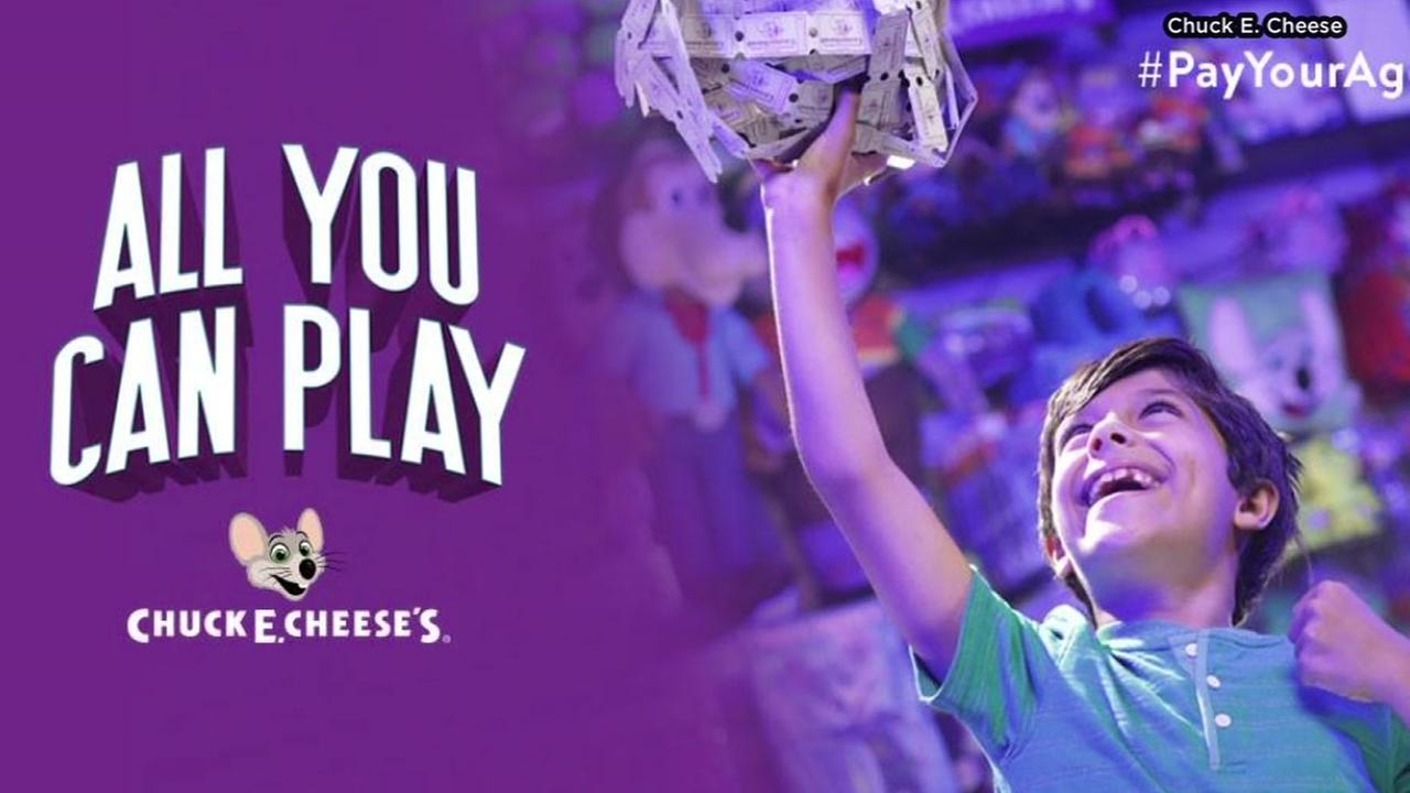 Chuck E. Cheese offering Pay your age for 30 minutes of All You Can Play