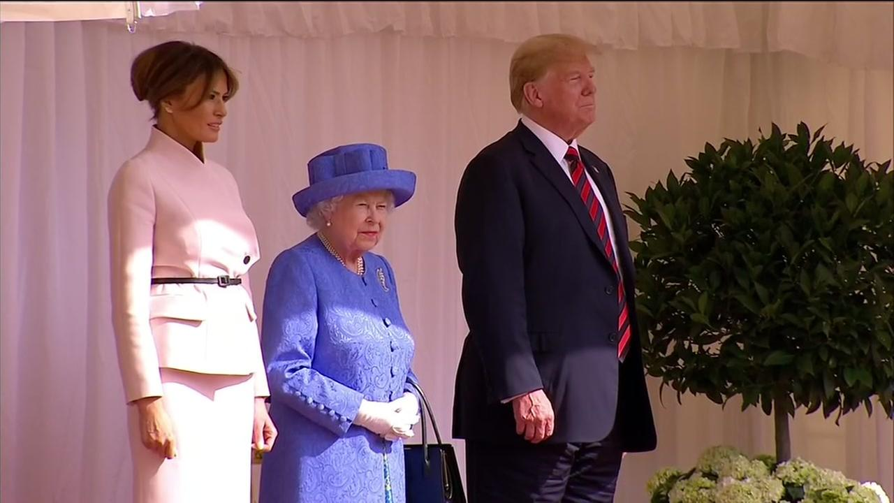 President Donald Trump and Melania meets with Queen Elizabeth II