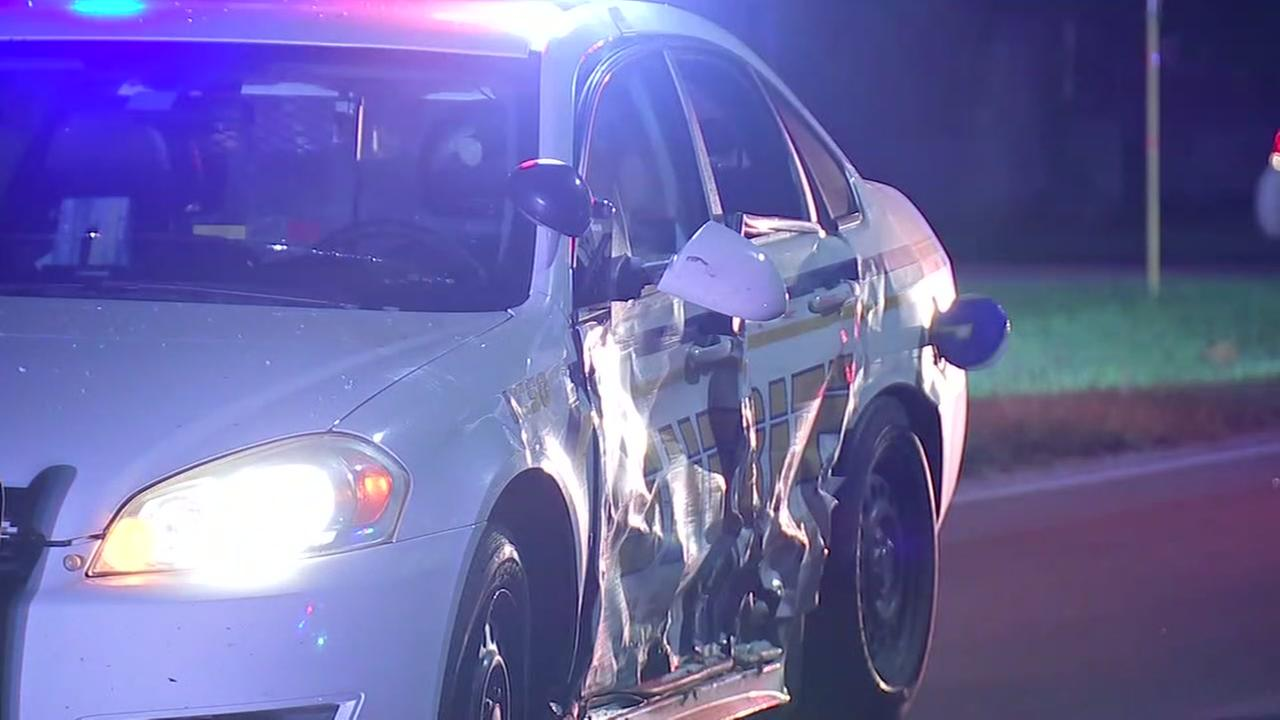 Driver who slams in cruiser runs from scene