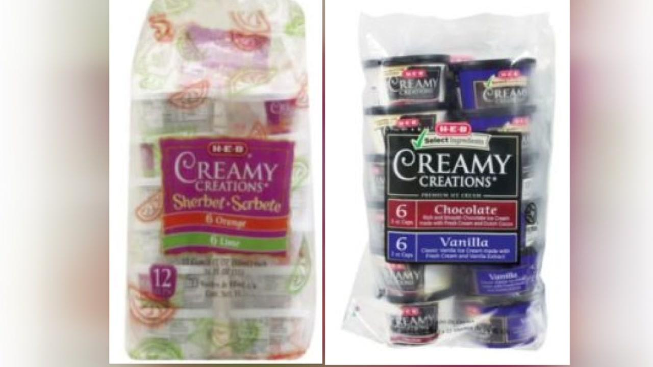 H-E-B recalling 2 variety packs of Creamy Creations ice cream and sherbets