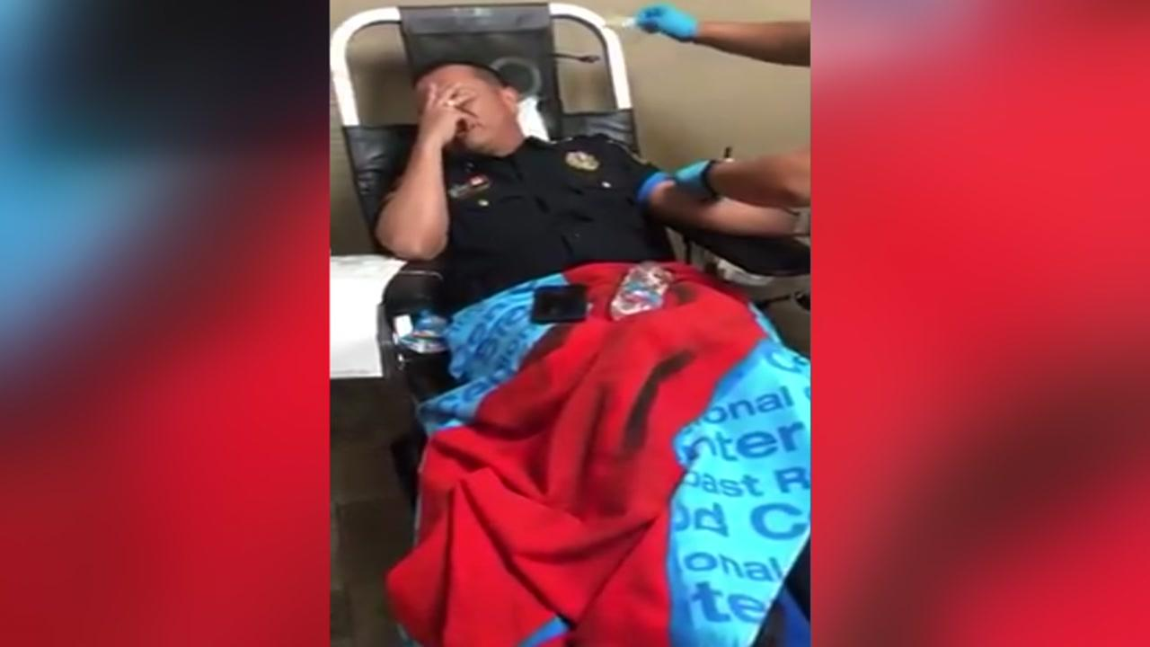 Officer faces phobia of needles during blood drive