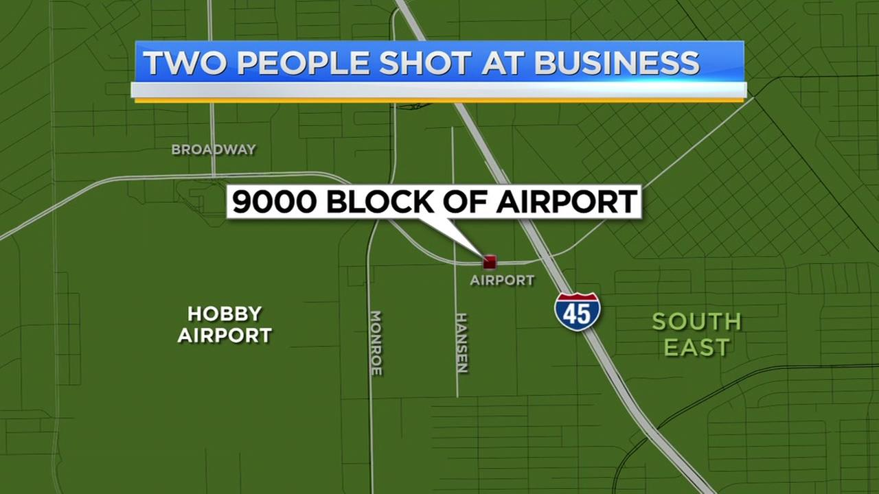 Two people shot at business
