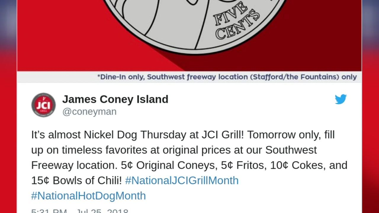 Get a coney at James Coney Island for a nickel Thursday