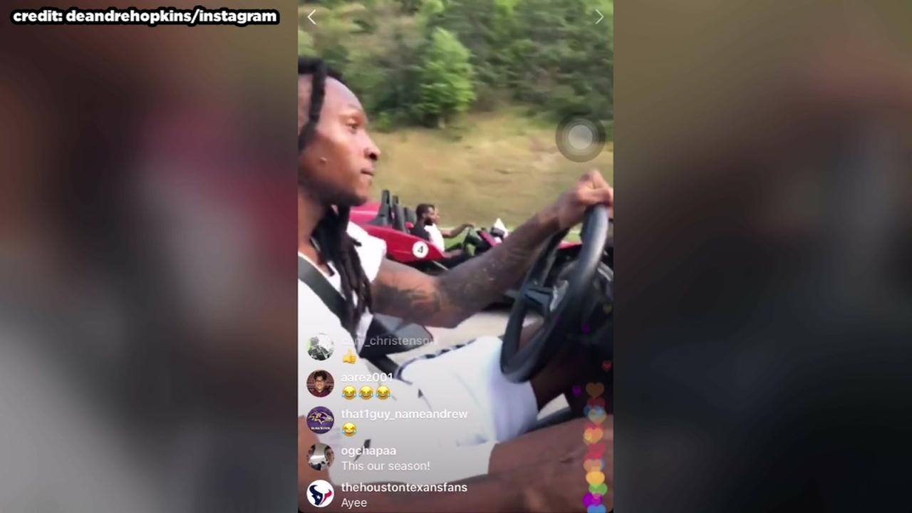 Texans ride around in Slingshots on day off