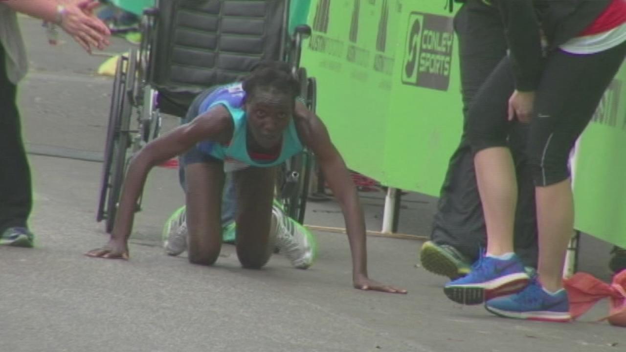 Runners crawls to finish line