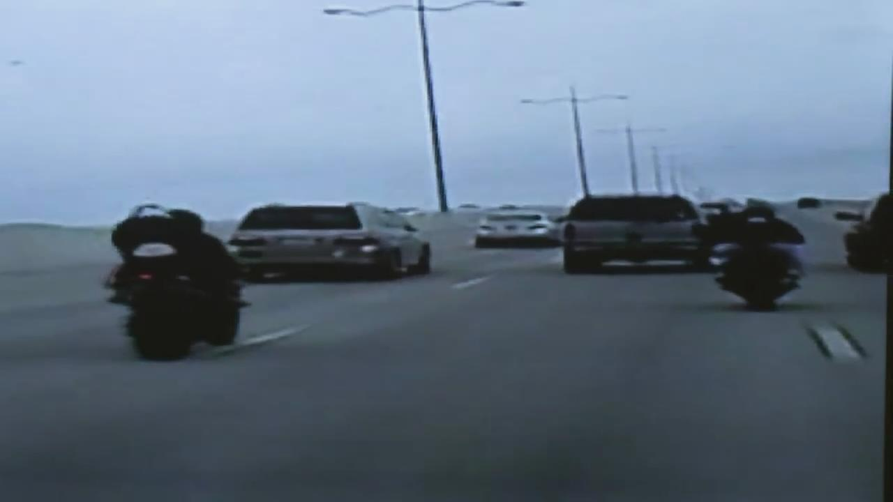 Police dash cam video of motorcycles