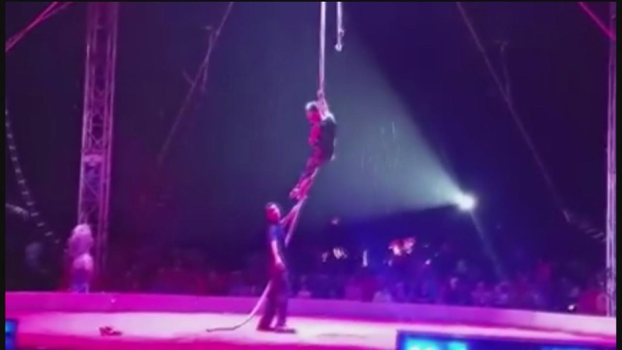 Storm-whipped circus tent sends spectators fleeing