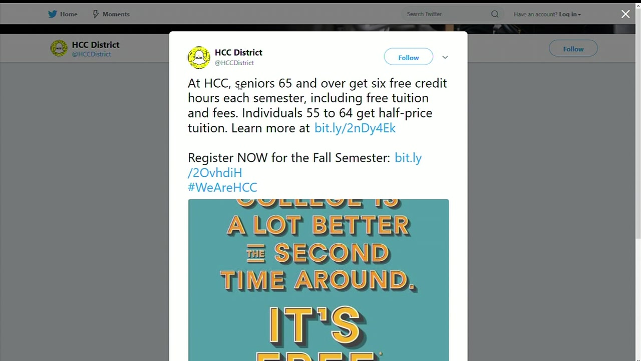 Free college classes for seniors