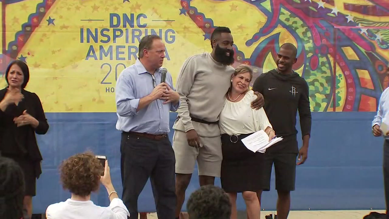 Houston rally to bring DNC stars Harden and CP3