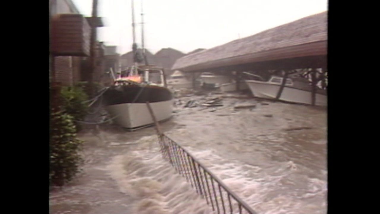 Tom Koch reports during Hurricane Alicia
