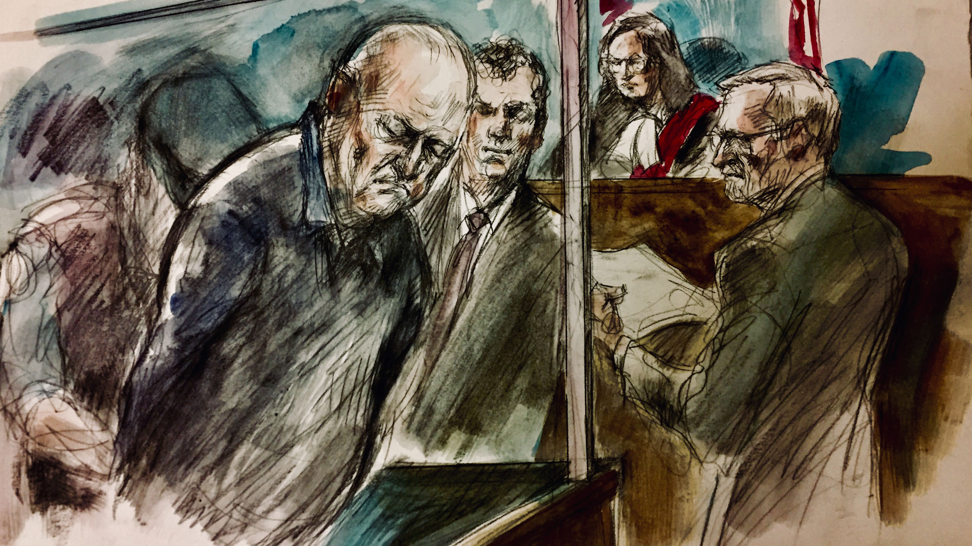 Bruce McArthur brought into court for his arraignment at College Park, College Park, Oct. 22, 2018. Sketch: Pam Davies
