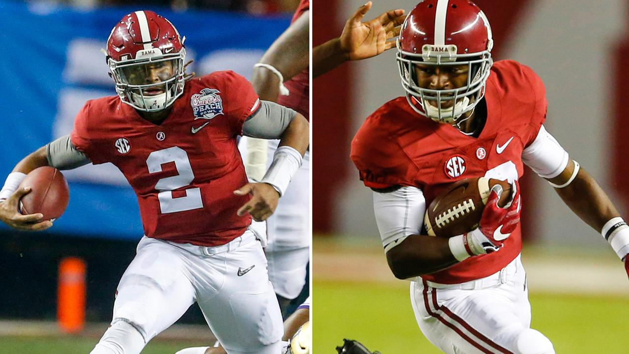 Alabamas Jalen Hurts and Xavian Marks