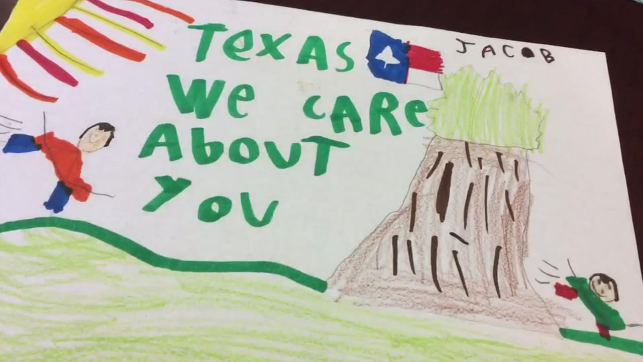 Students from around the country sent messages of hope for Harvey victims.