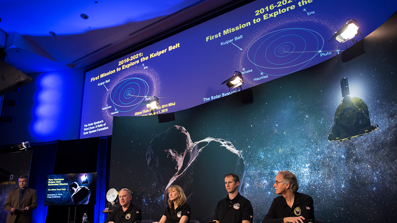 New Horizons principal investigator Alan Stern of the Southwest Research Institute, left, at a press conference prior to the flyby of Ultima Thule by the New Horizons spacecraft.