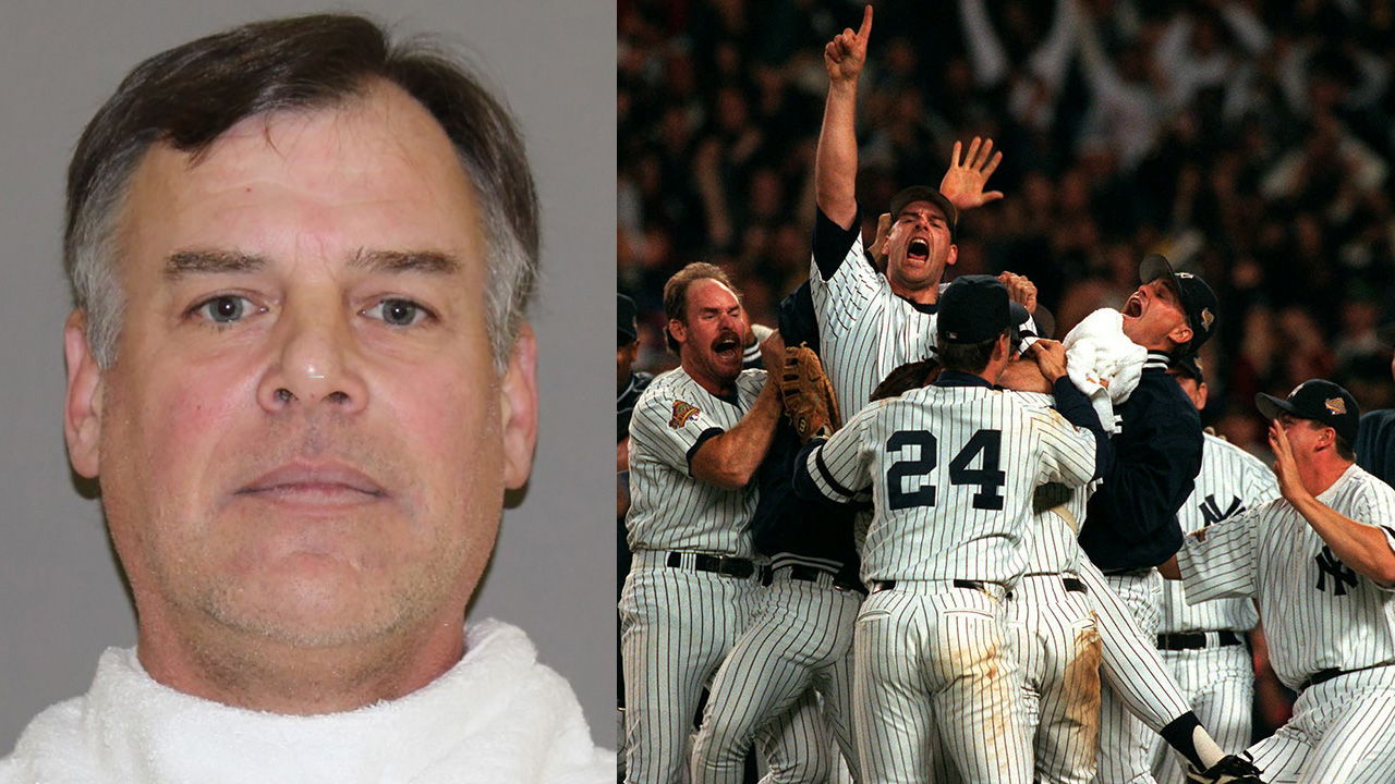 Left - Mugshot; Right - Yankees players embrace John Wetteland, center, after the Yankees won Game 6 of the World Series Saturday, Oct. 26, 1996, at Yankee Stadium