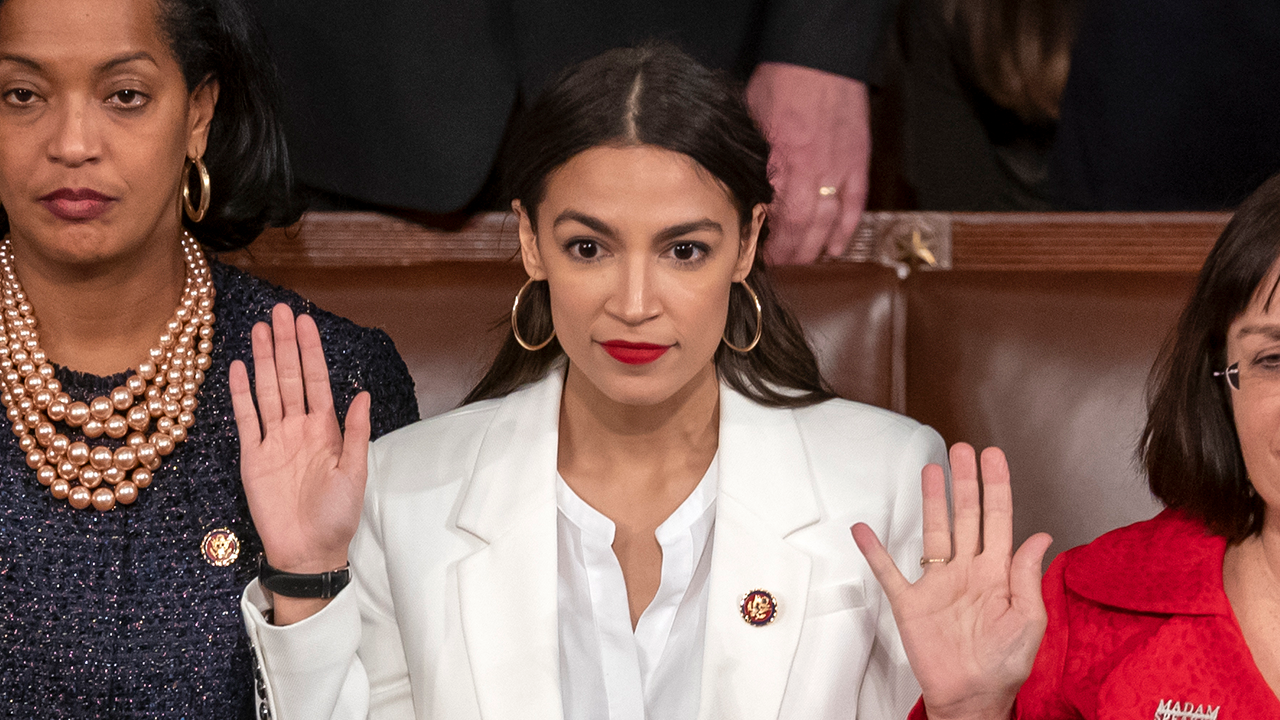 Rep. Alexandria Ocasio-Cortez is sworn in on the opening day of the 116th Congress at the Capitol in Washington, Thursday, Jan. 3, 2019.