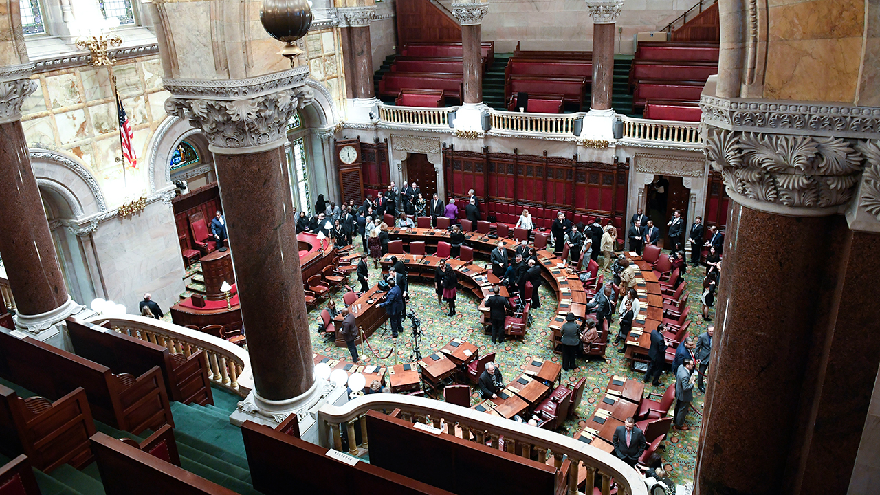 Senate members meet during the 2019 legislative session in the Senate Chamber at the Capitol in Albany, N.Y.