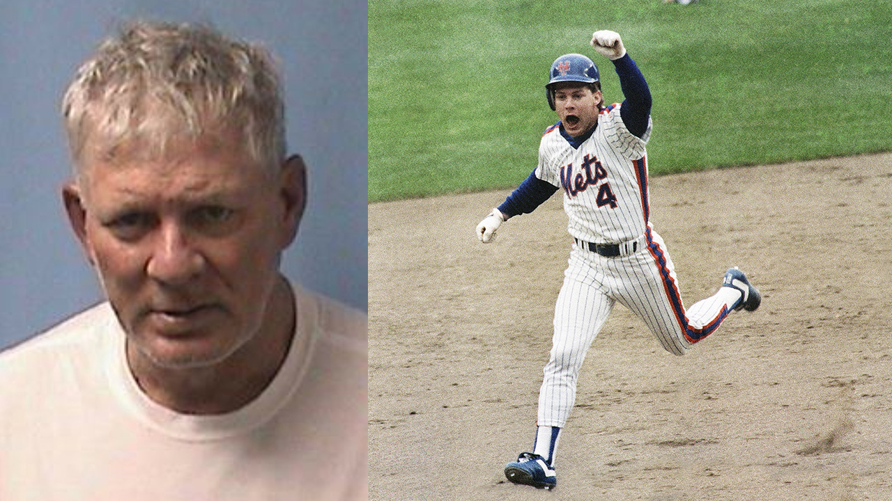 Left - Mug shot provided by Linden Police Department; Right - Dykstra rounds the bases after his game-winning home run in Game 3 of the 1986 NLCS
