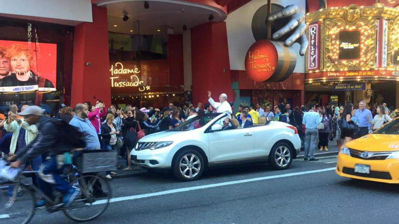 A wax figure of Pope Francis riding around in the back of a convertible in New York City Thursday caused quite the stir. People mistook it for the real pope and called police.