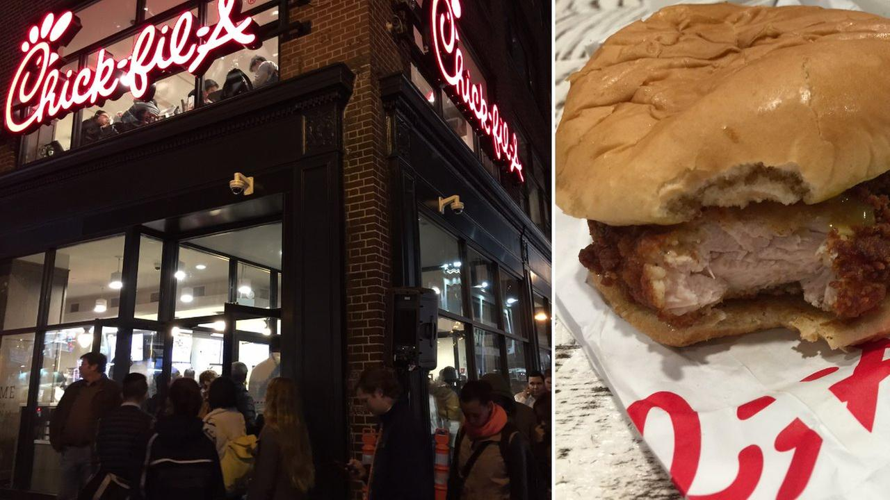 People are seriously waiting 1 hour for a chicken sandwich at Chick-fil-A in NYC