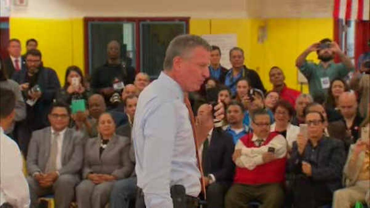 New York City Mayor Bill de Blasio holds his first town hall meeting