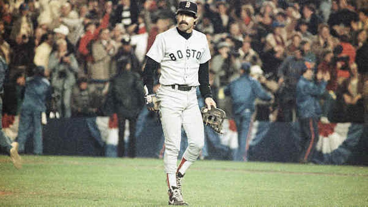 Red Sox first baseman Bill Buckner is a picture of dejection as he leaves the field after committing an error on a ball hit by New York Mets Mookie Wilson.
