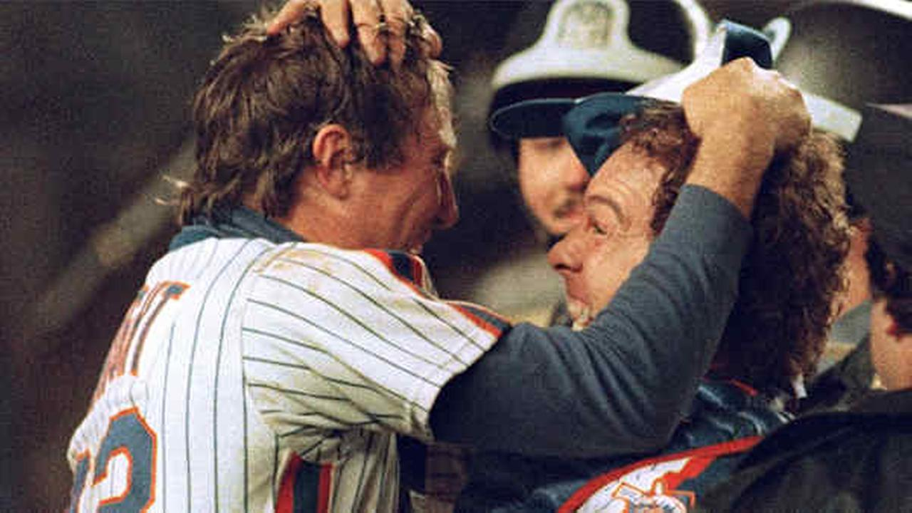 Ray Knight celebrates with catcher Gary Carter after the Mets defeated the Red Sox 8-5 in Game 7 of the World Series on Oct. 27, 1986.