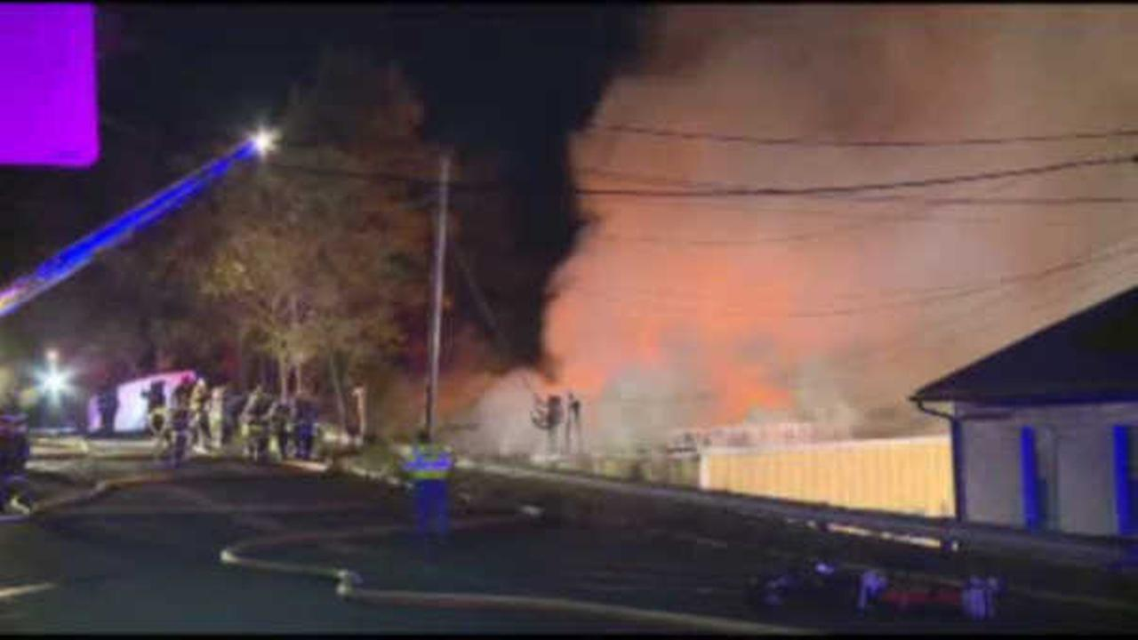 Firefighters battle 3-alarm fire in Monmouth County warehouse