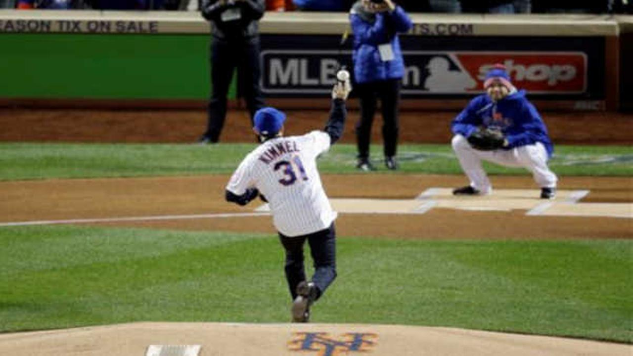 Television host Jimmy Kimmel throws out the first pitch at Game 2.