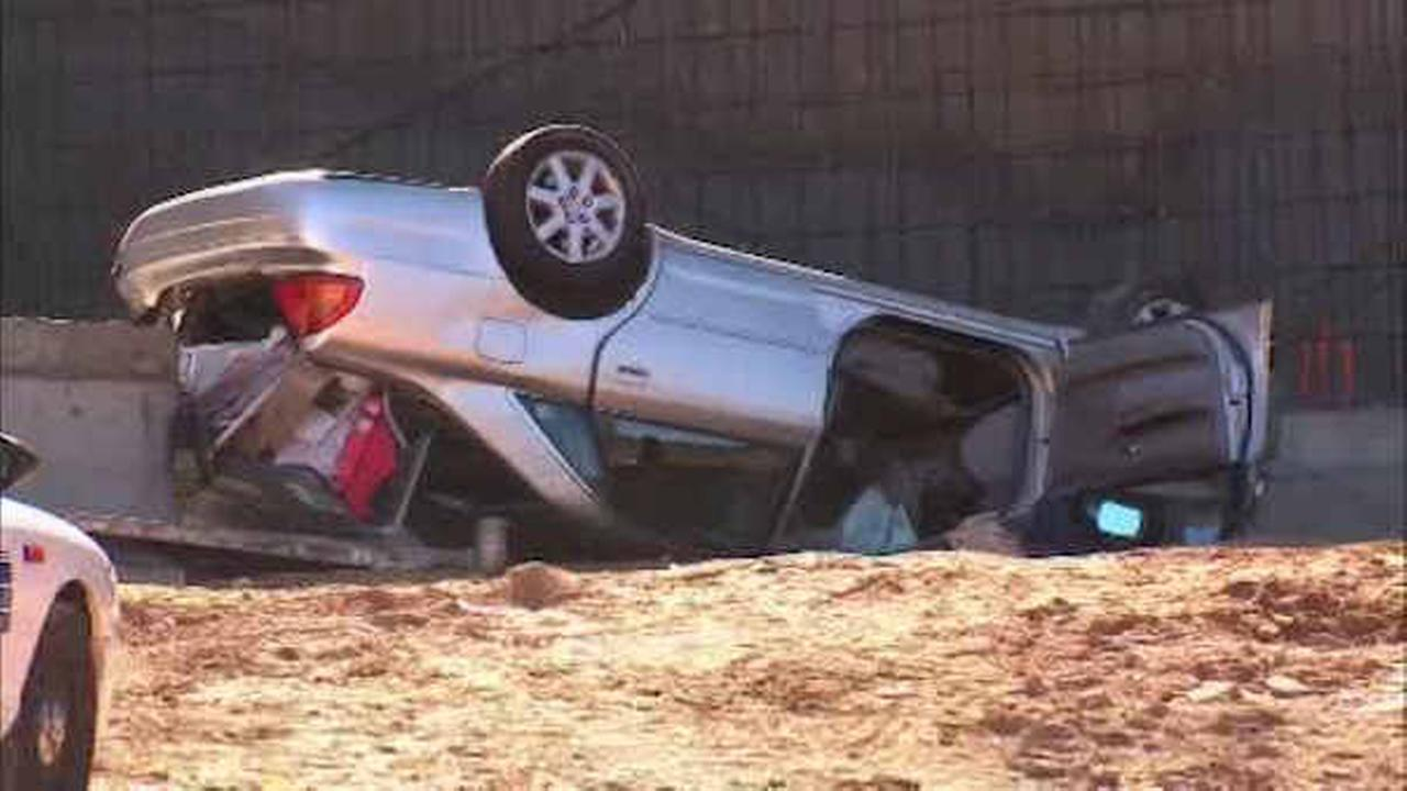 Elderly woman hospitalized after driving into construction ditch in Yonkers