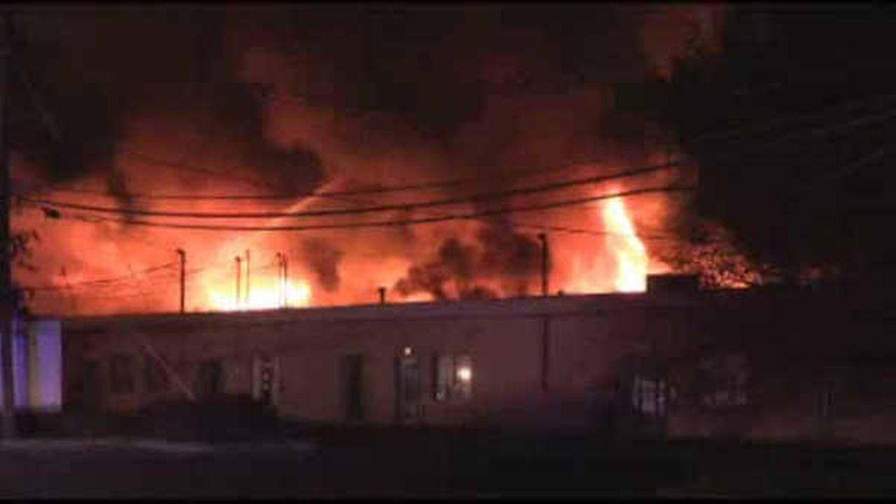 Firefighters battle massive warehouse fire in Fairfield, New Jersey