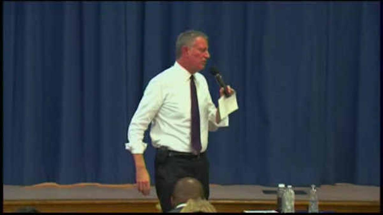 Mayor Bill de Blasio holds town hall meeting on education in Jackson Heights
