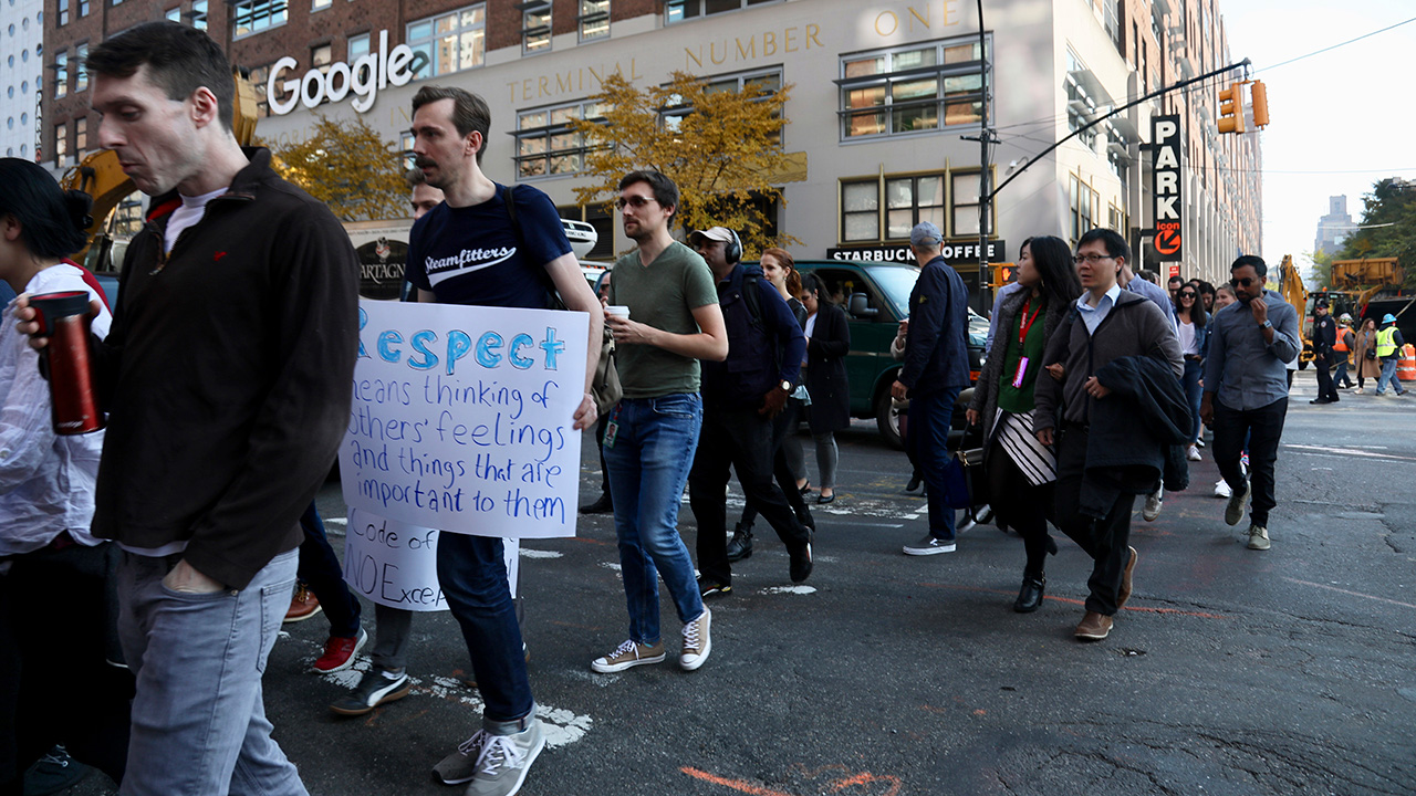 Google employees walk off the job to protest the internet companys lenient treatment of executives accused of sexual misconduct on Thursday, Nov. 1, 2018, in New York.
