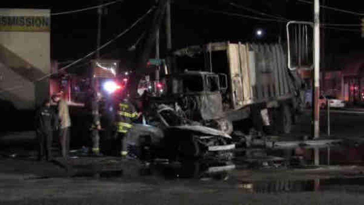 2 dead in collision with sanitation truck on Long Island in Inwood