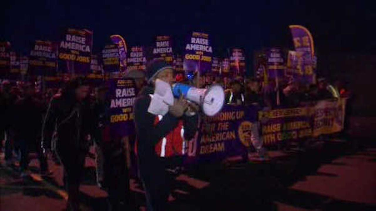 Thousands took to the streets to protest new contracts that are to expire in two weeks.