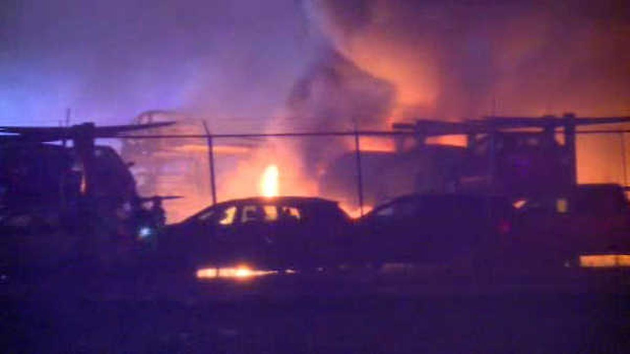 82 cars damaged when fire breaks out in Carteret auto salvage lot