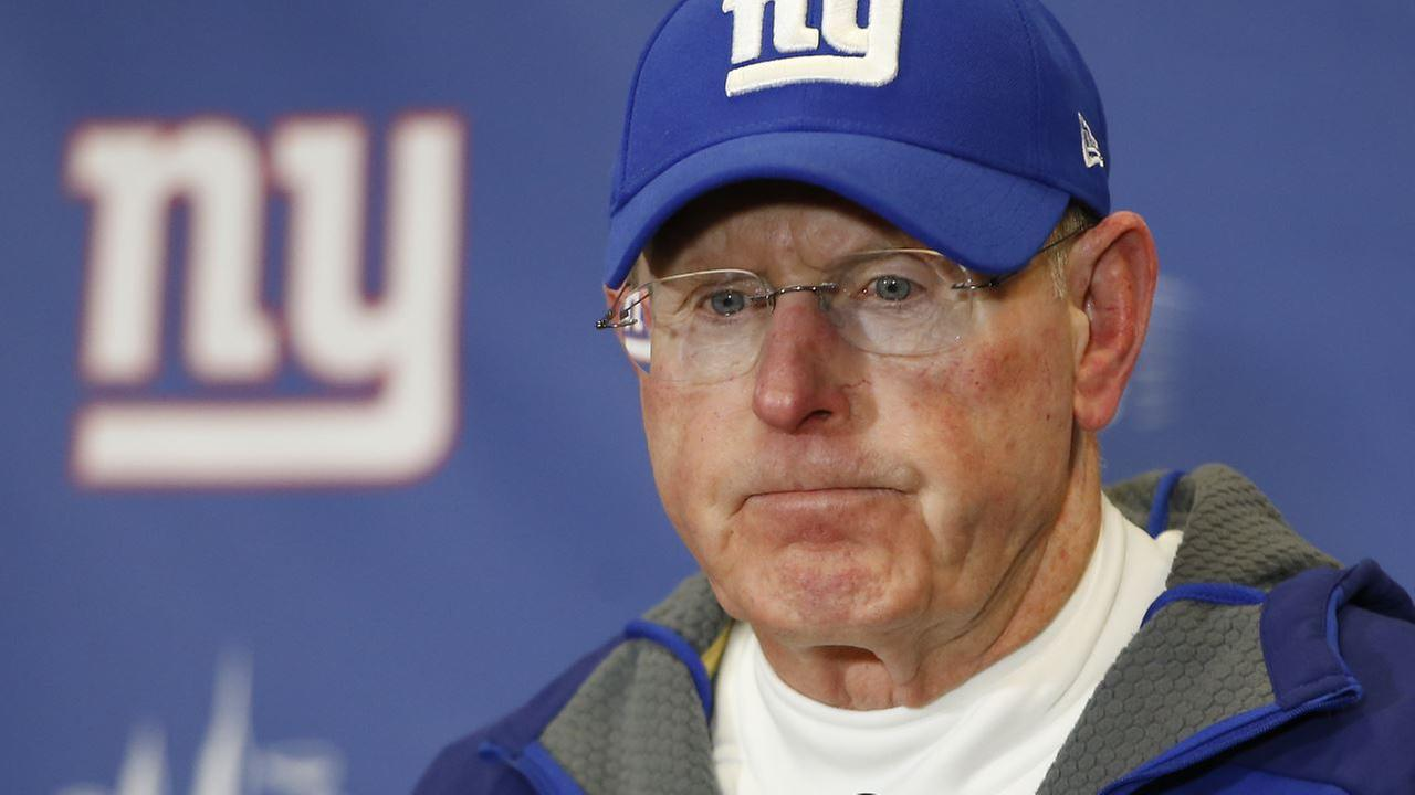 New York Giants head coach Tom Coughlin answers questions during a news conference after the Giants lost 35-30 to the Philadelphia Eagles in an NFL football game, Sunday, Jan. 3.
