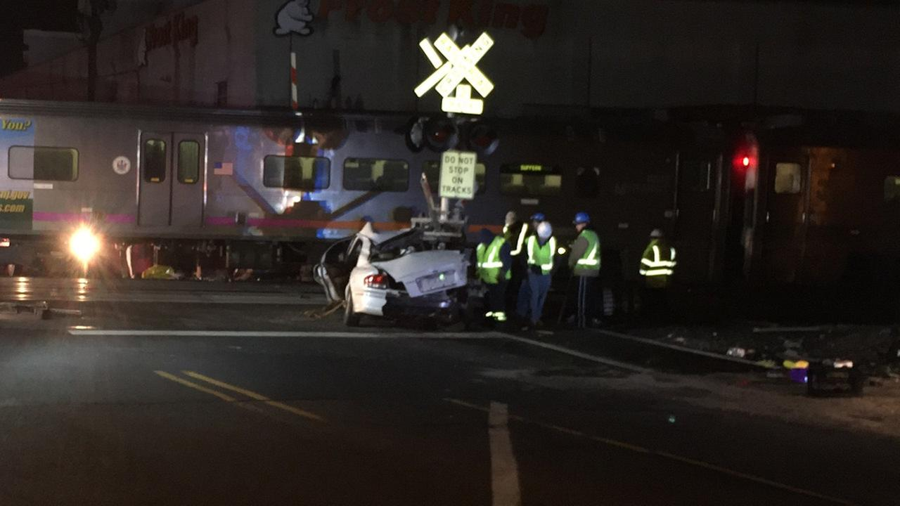 NJ Transit train strikes car on tracks in Paterson