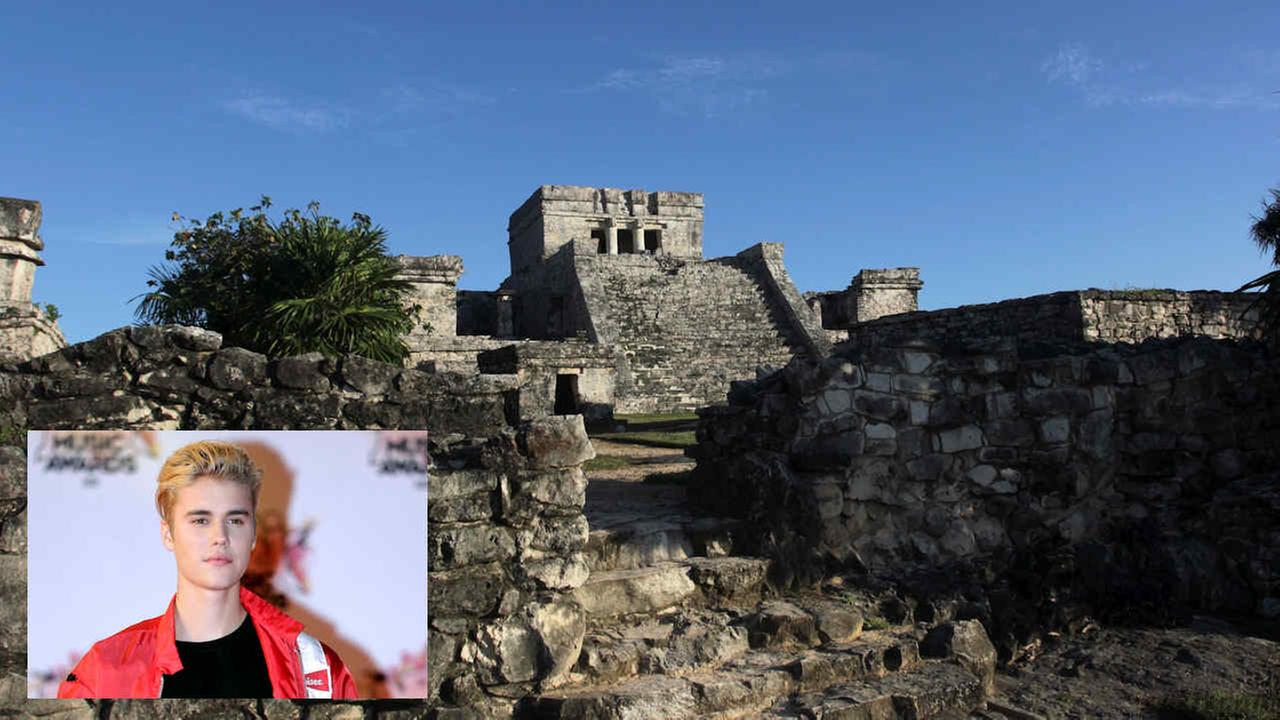 The Castle of the Mayan ruins in Tulum on Jan. 4, 2013; Justin Bieber arrives at the Cannes festival palace in Cannes on Nov. 7, 2015
