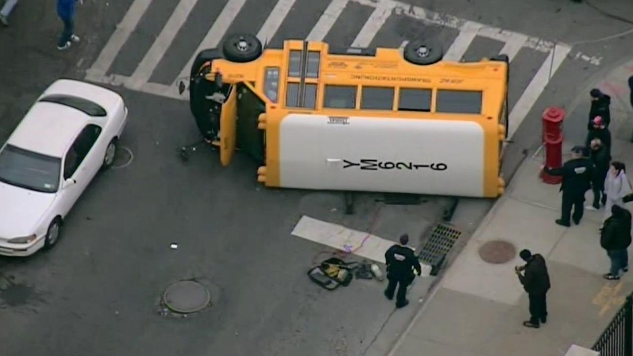 7 children, 1 adult injured in school bus crash in Brooklyn