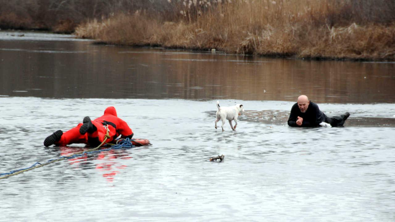 Man and his dog rescued from frozen lake in Smithtown