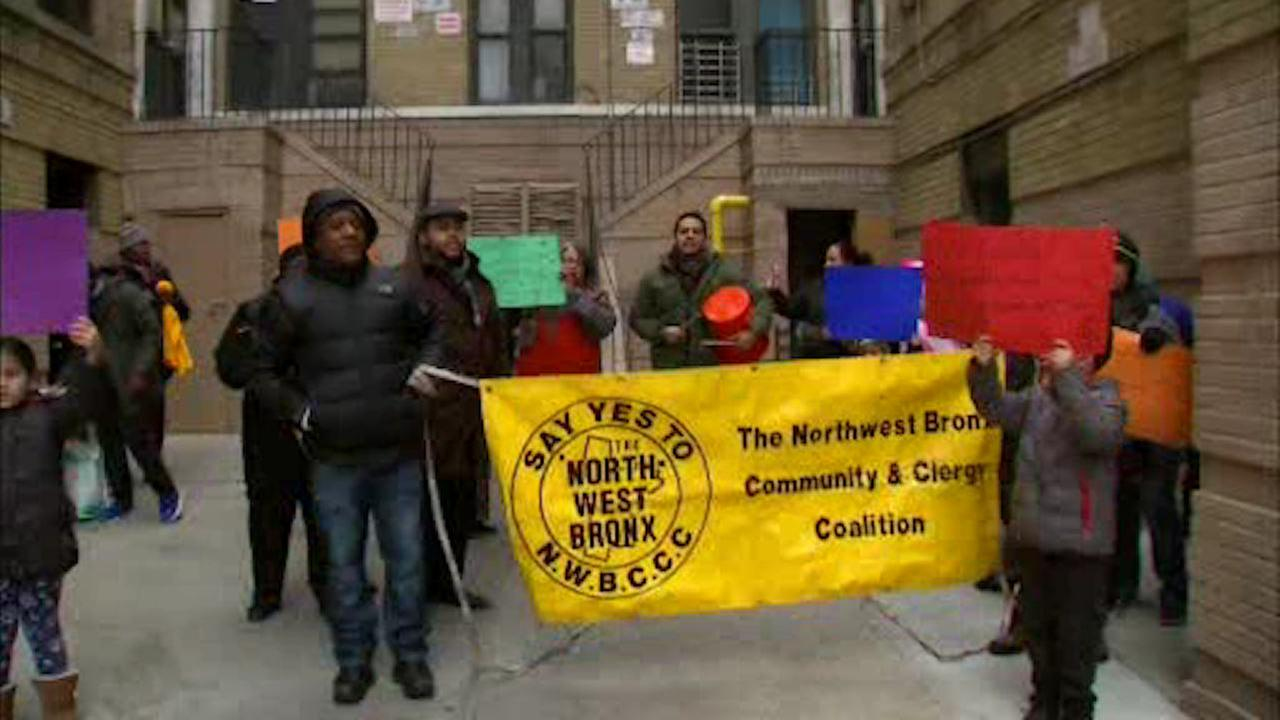 Bronx residents rally to get landlord to turn on gas - after 18 months!