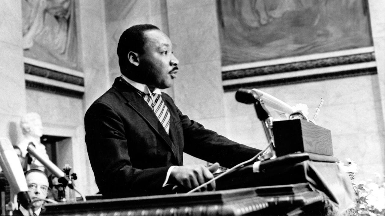 The Rev. Martin Luther King Jr., delivers his Nobel Peace Prize acceptance speech in the auditorium of Oslo University in Norway on Dec. 10, 1964.