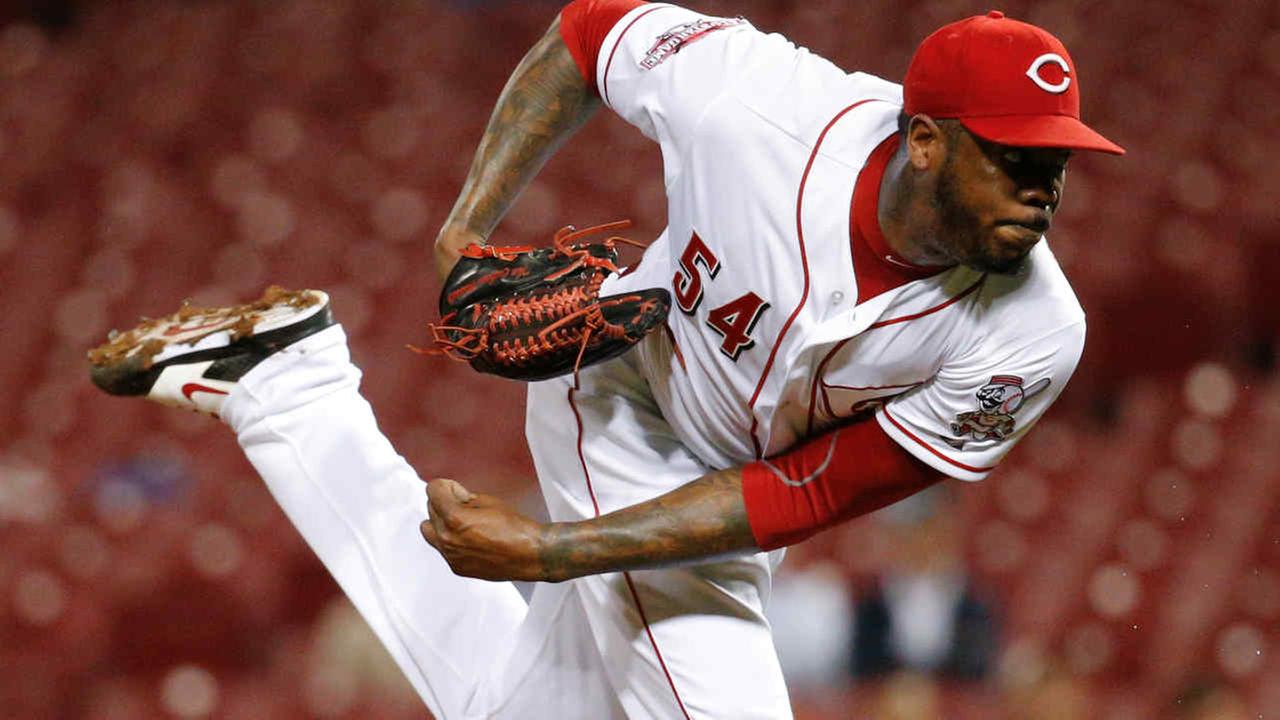 This Sept. 30, 2015 file photo shows Cincinnati Reds relief pitcher Aroldis Chapman throwing in the ninth inning of a baseball game against the Chicago Cubs